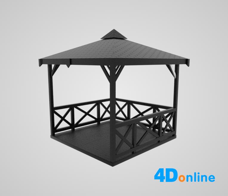 c4d公园亭子帐篷模型