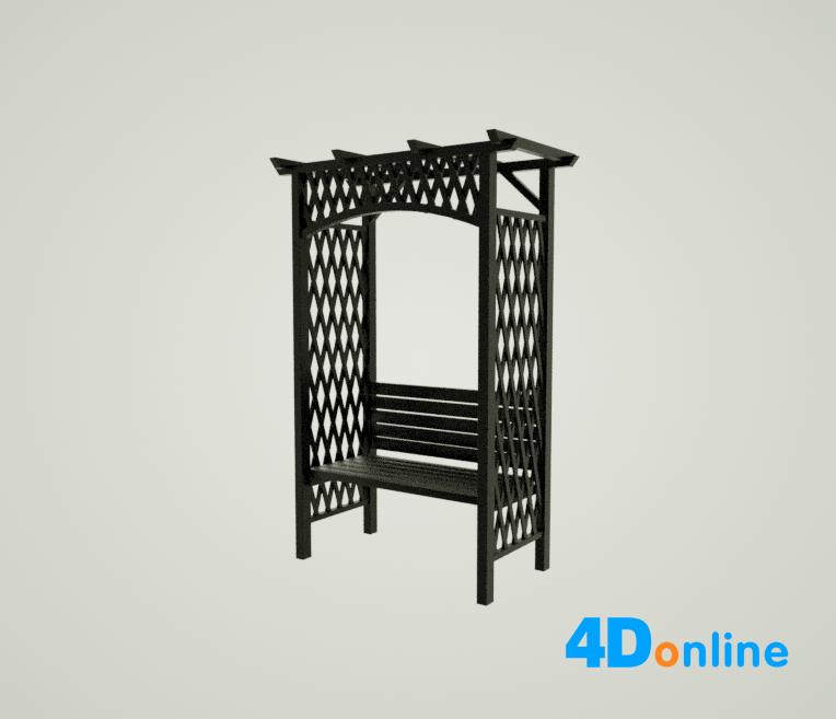 c4d凉亭椅子模型