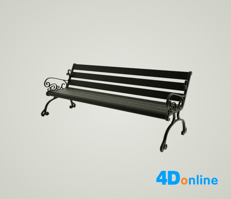 c4d长椅模型
