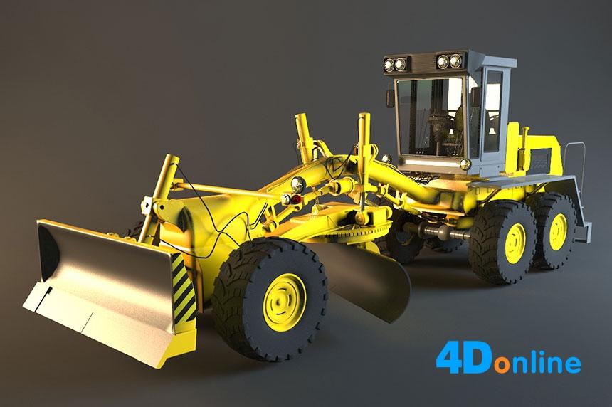 c4d推土机挖掘机模型