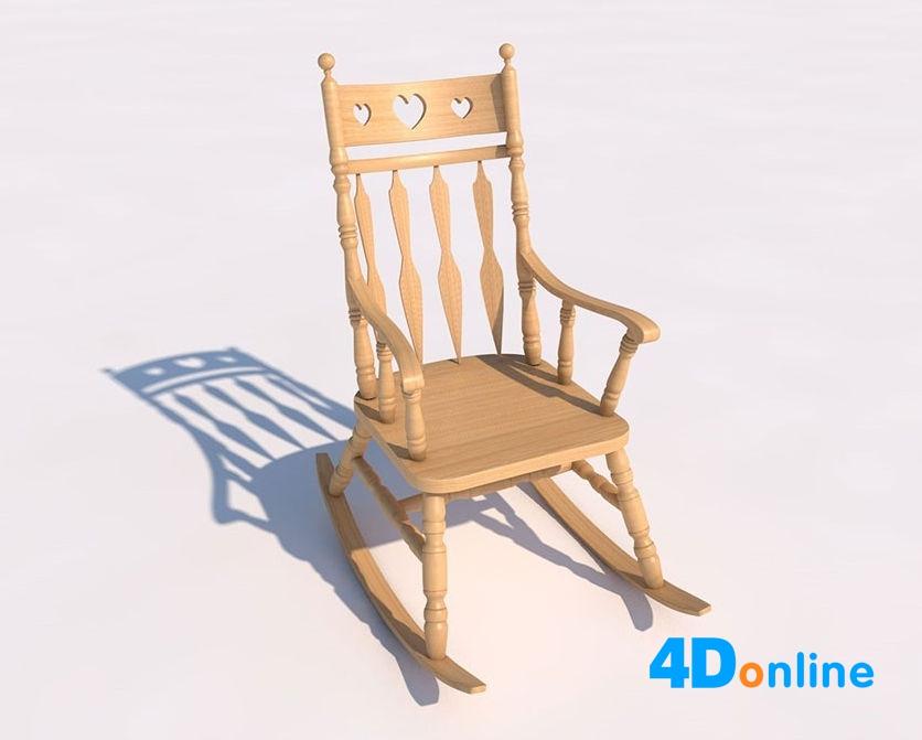 c4d木头木质椅子摇椅模型