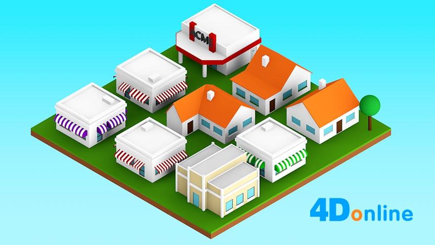 c4d创意低边房屋场景模型