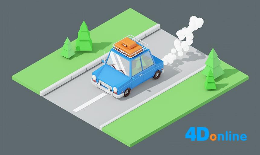 c4d创意低边汽车道路场景模型