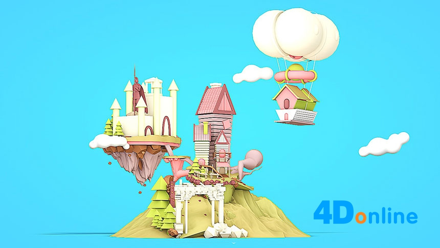 c4d创意梦幻城堡场景模型