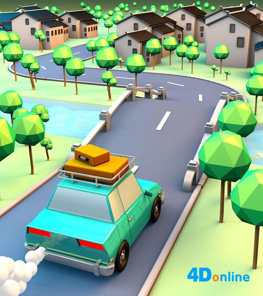 c4d创意村庄场景模型