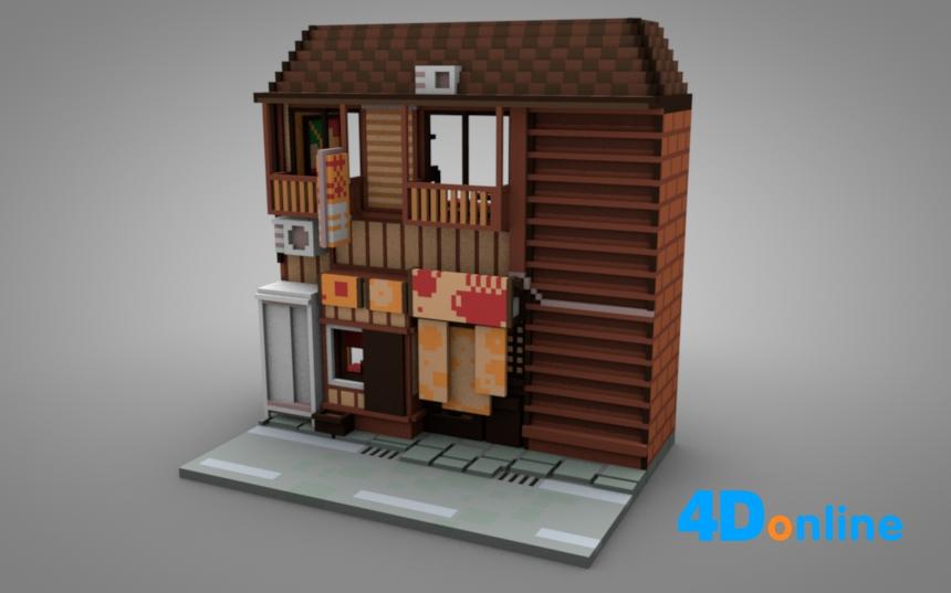 c4d低边像素楼房模型