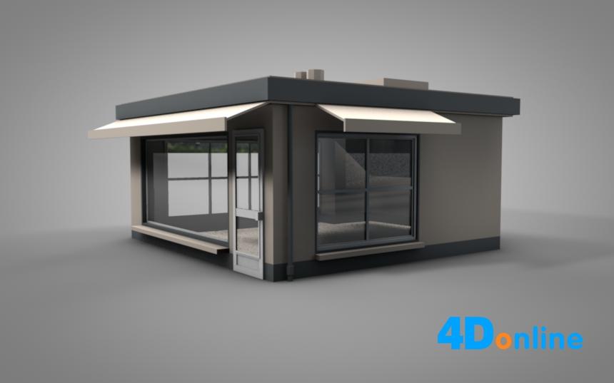 c4d亭子展厅c4d建筑模型