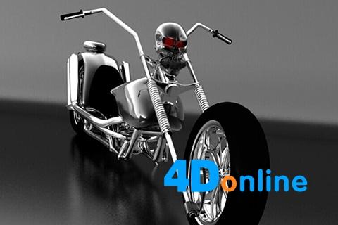 c4d摩托哈雷机车模型