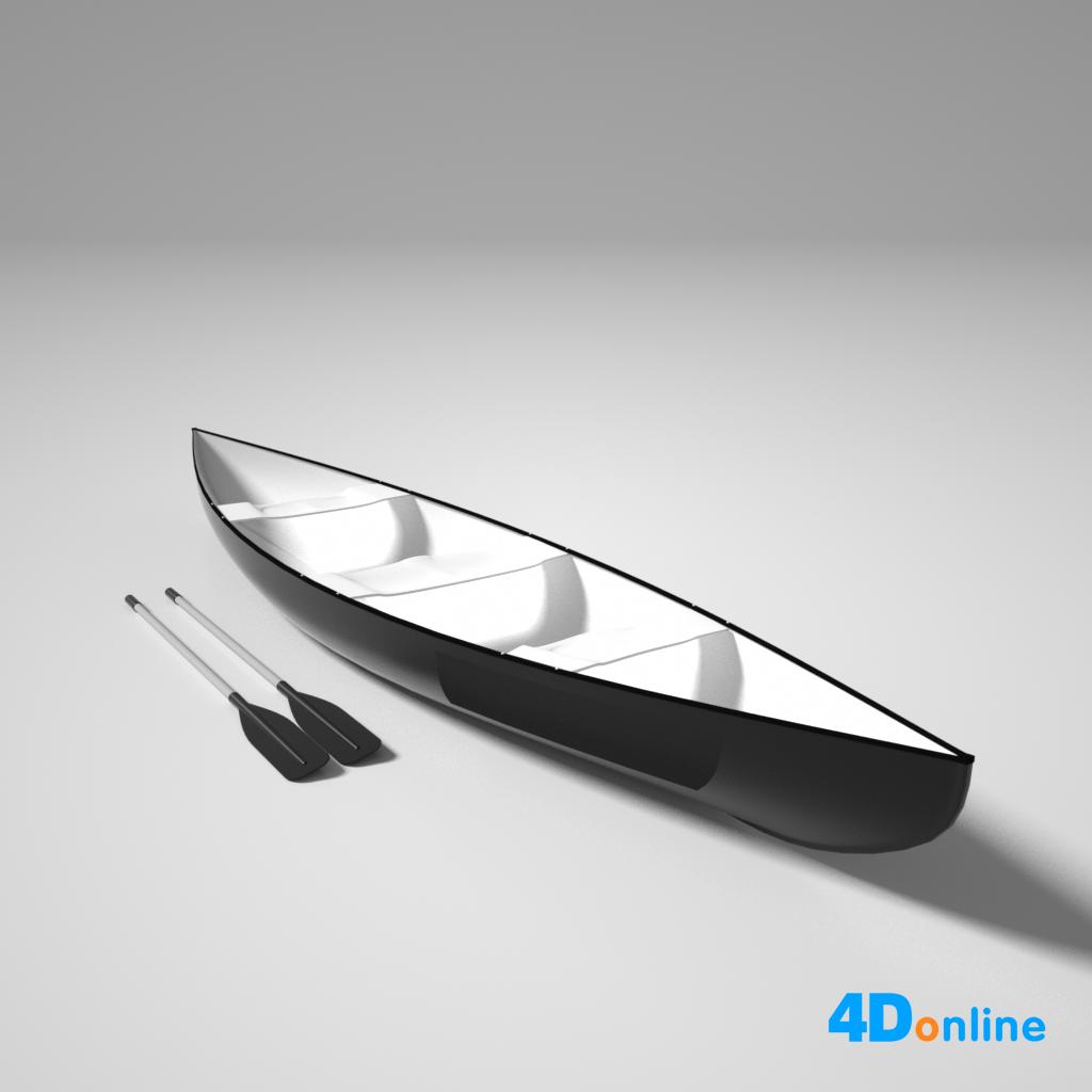 c4d小船划桨皮筏模型