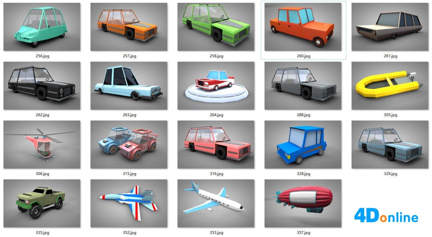 20组c4d低边汽车飞机模型免费下载