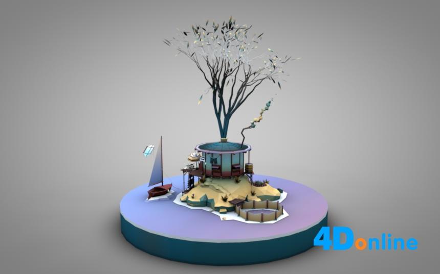 c4d创意低边小岛屿场景模型