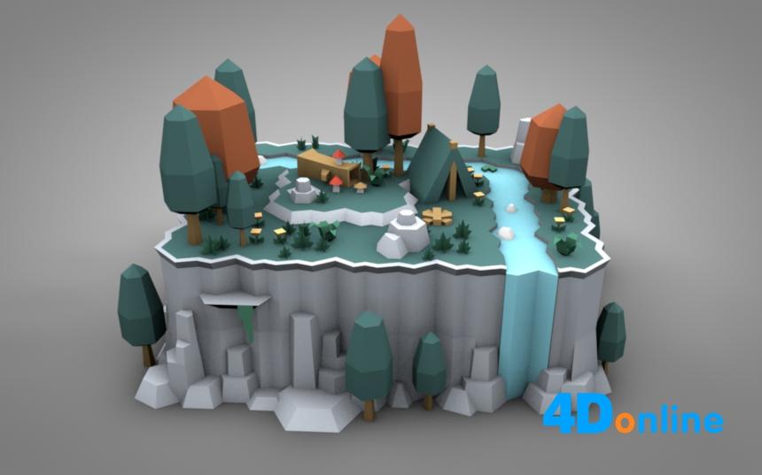 c4d低边创意村庄露营场景模型
