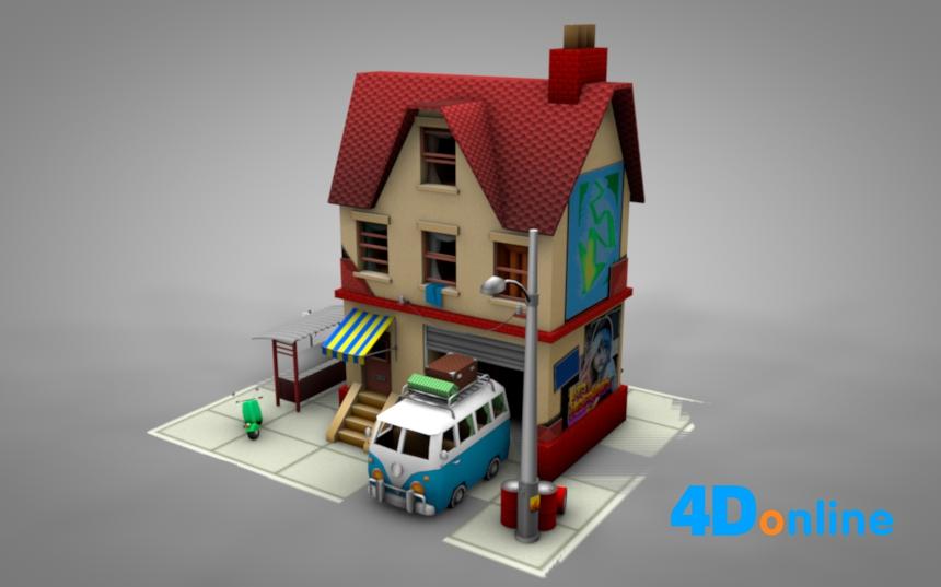 c4d低边房屋小卖铺模型
