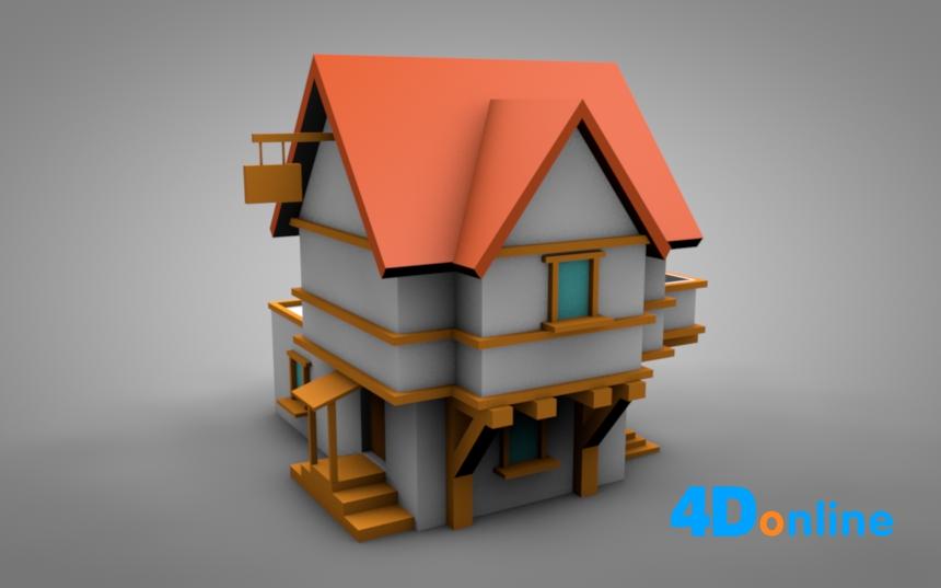 c4d低边木屋房屋模型