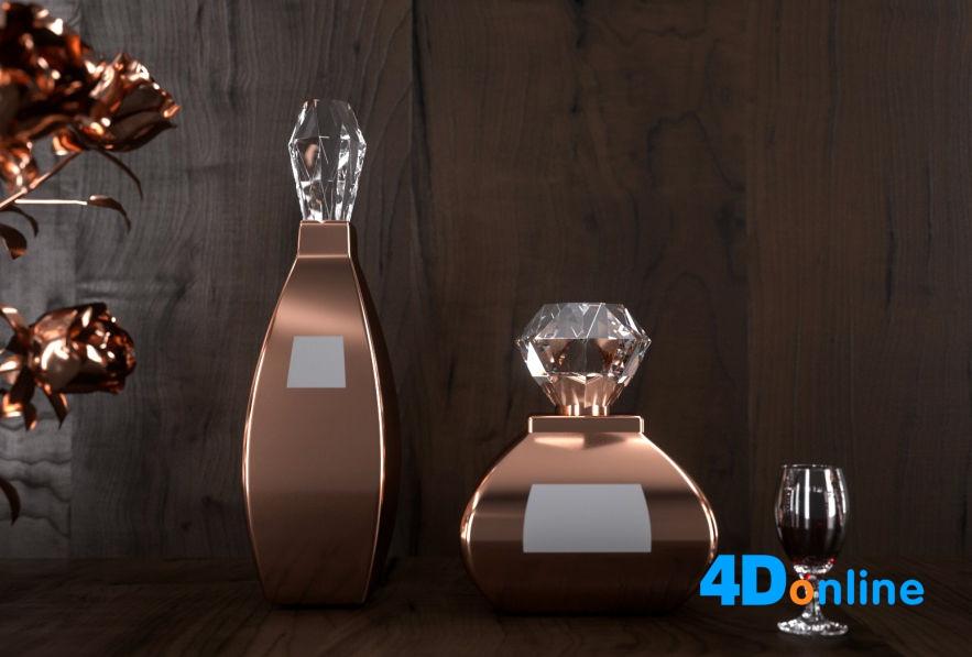 c4d红酒酒瓶高脚杯玻璃杯模型