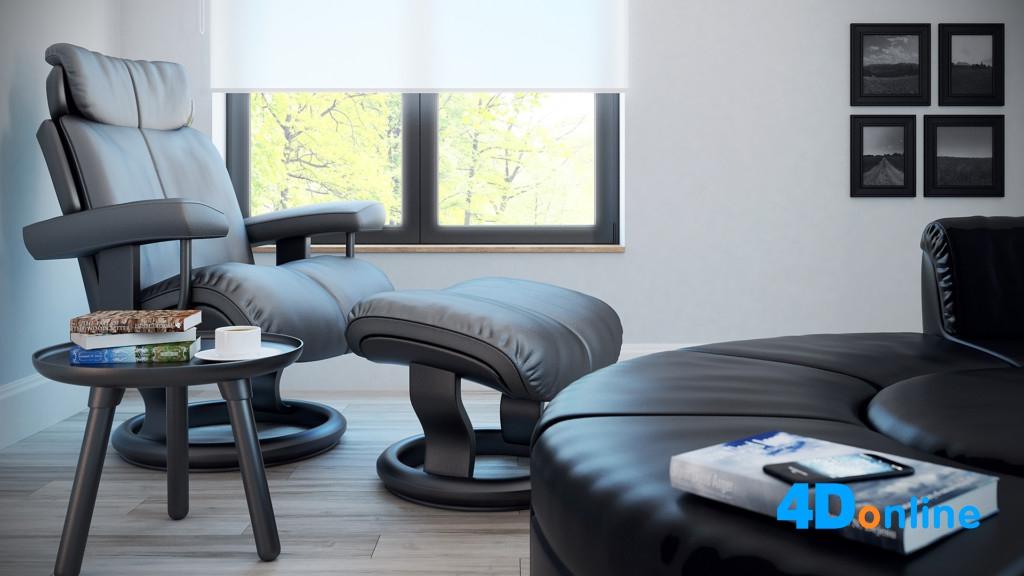 c4d躺椅老板椅模型书房室内场景下载