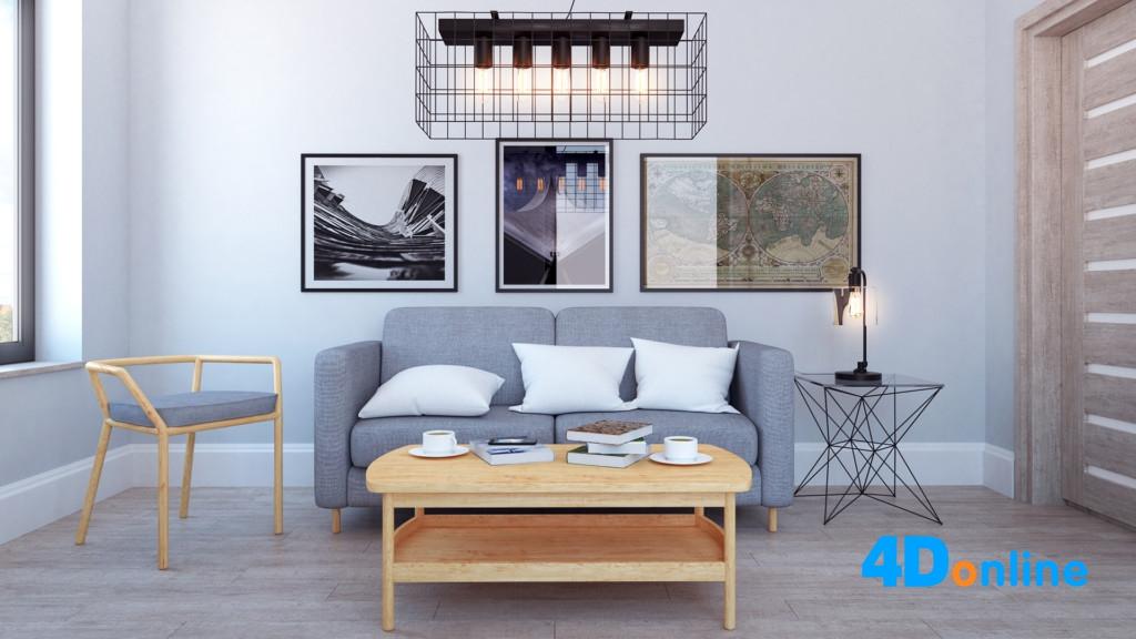 c4d沙发抱枕模型客厅室内场景