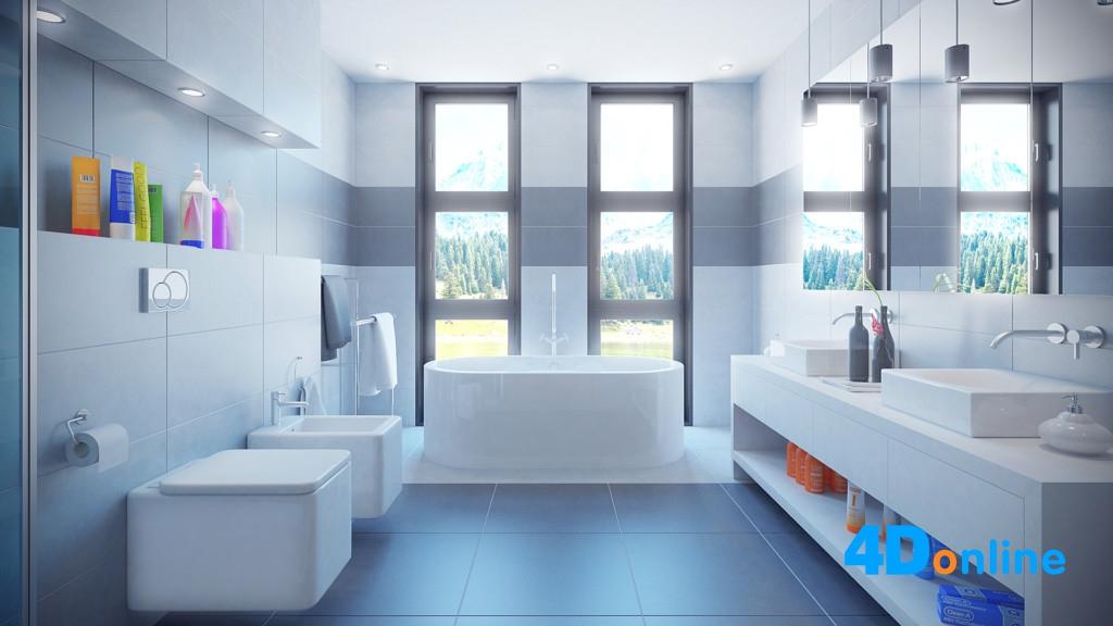 c4d浴室场景c4d洗手间厕所浴缸模型