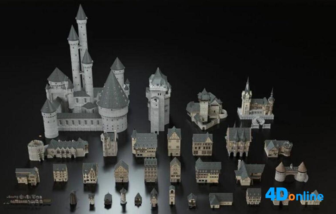 c4d欧洲建筑中世纪城堡宫殿楼宇模型