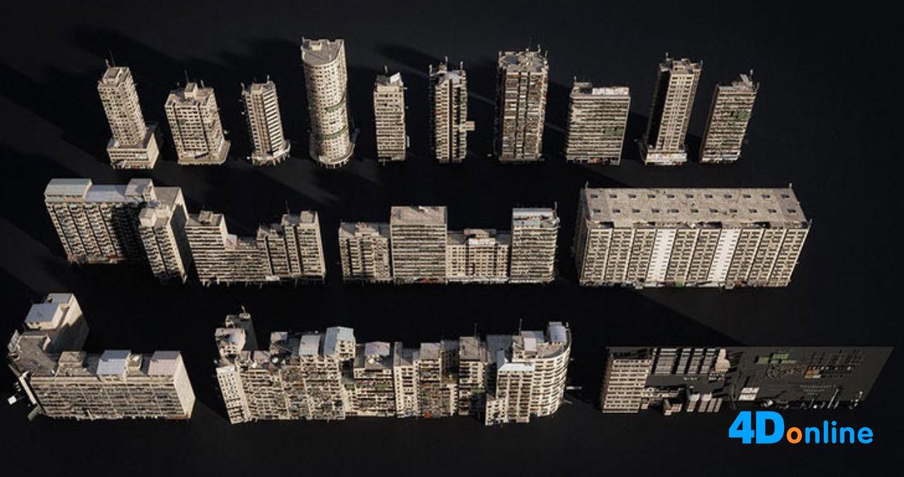 c4d破旧城市建筑烂尾楼贫民窟模型