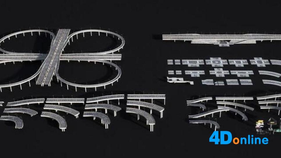c4d高架桥立交桥高速公路街道模型