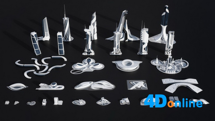c4d科幻外星建筑城市场景模型