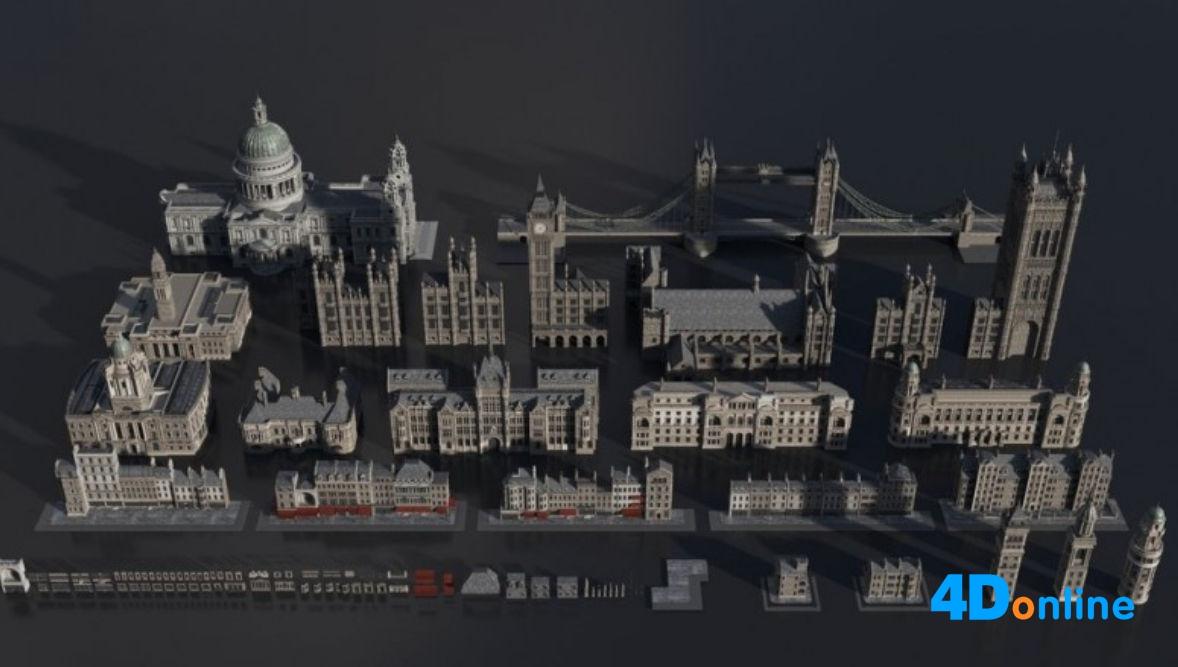 c4d欧洲建筑中世纪景观城市模型