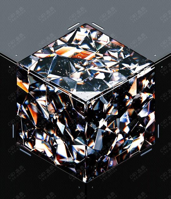 c4d宝石晶体创意场景模型