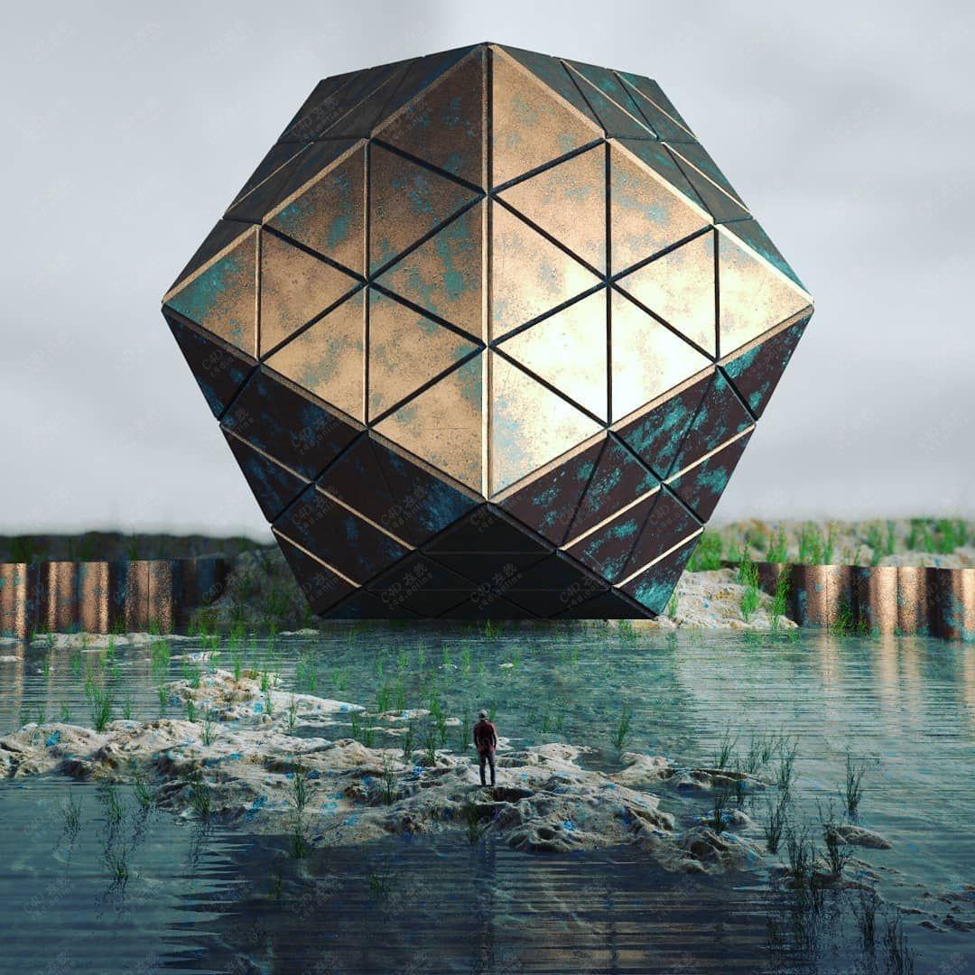 金属菱形科幻创意场景模型