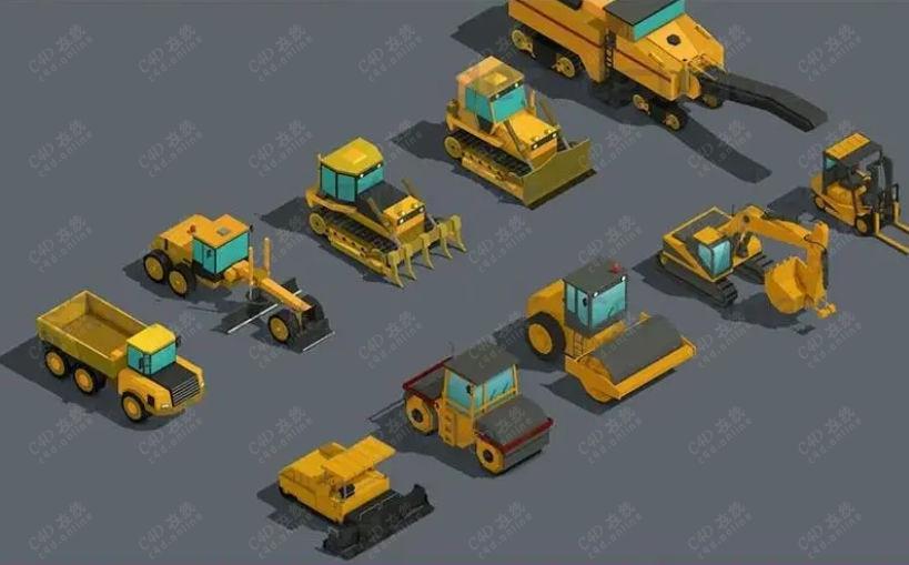 低边卡通工程车货车挖掘机模型