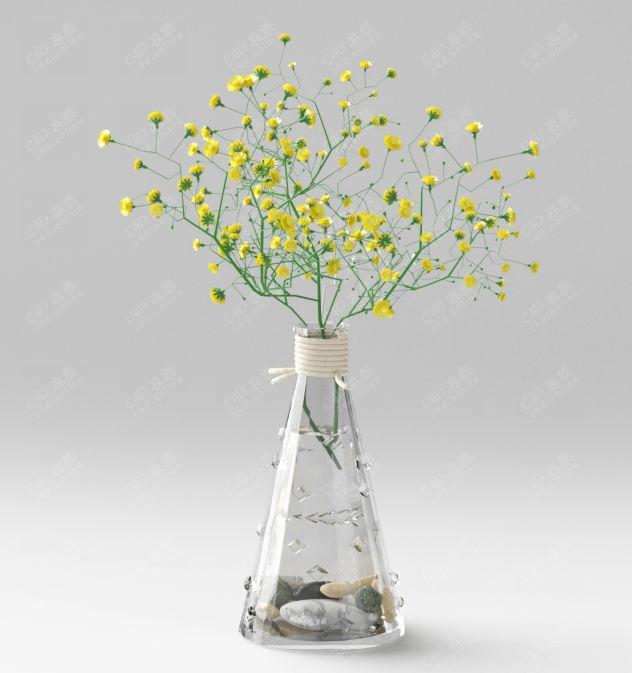 甘菊黄色小花装饰绿植盆栽模型