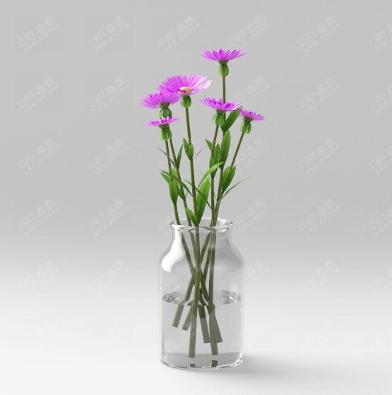 紫色花装饰绿植盆栽模型