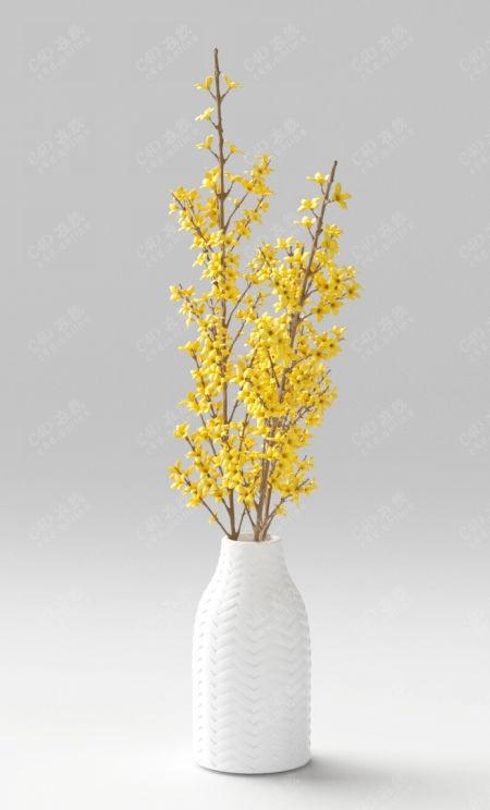 黄色鲜花桂花装饰盆栽模型