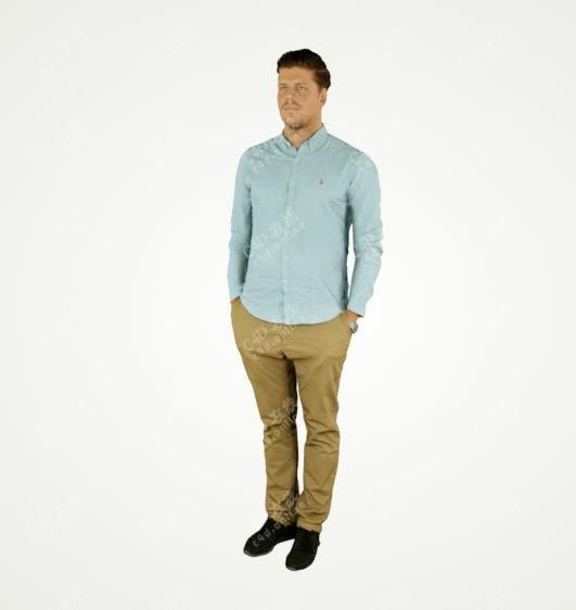 蓝色休闲男子站立单人免费模型