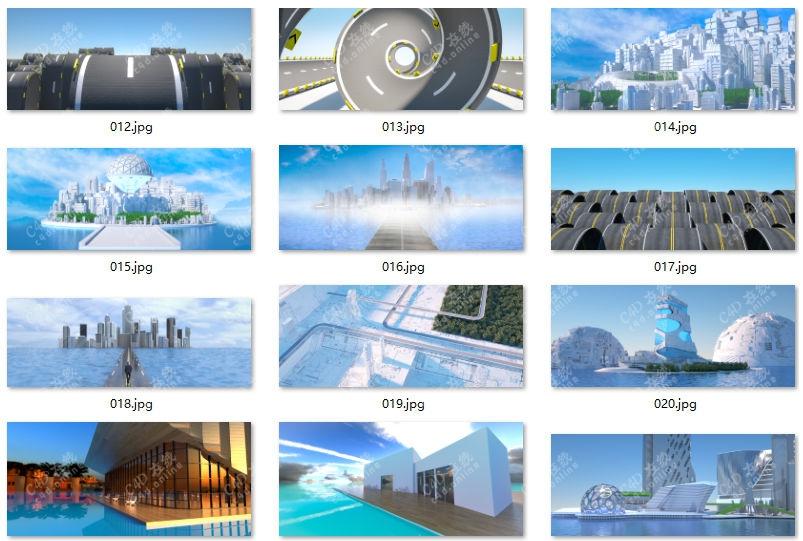 未来城市科幻建筑艺术城市模型合集