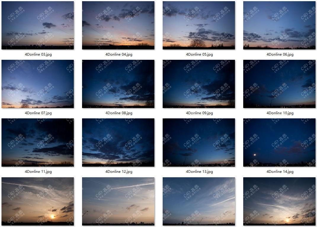 91张高清黄昏傍晚残霞天空hdr贴图