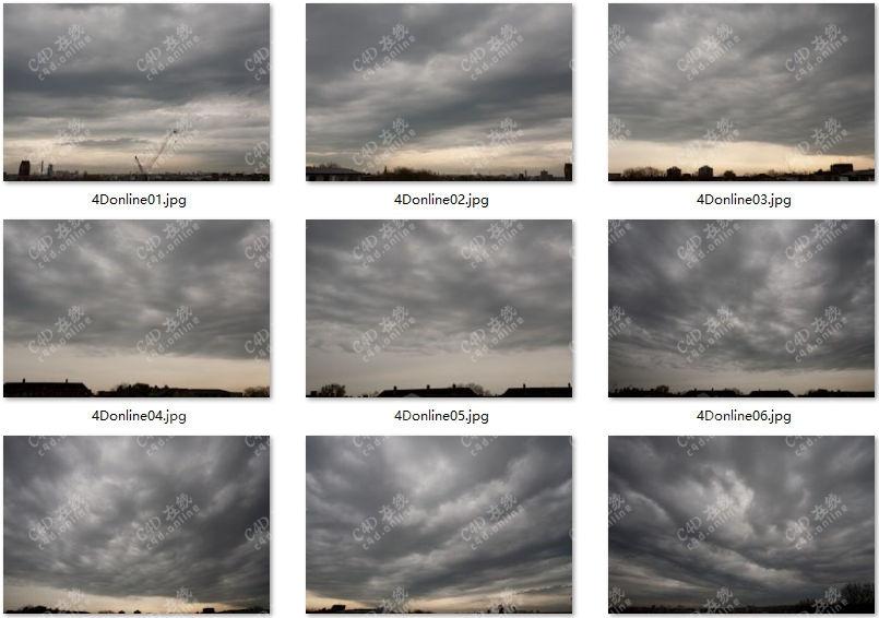 9张高清阴天多云傍晚天空hdr贴图