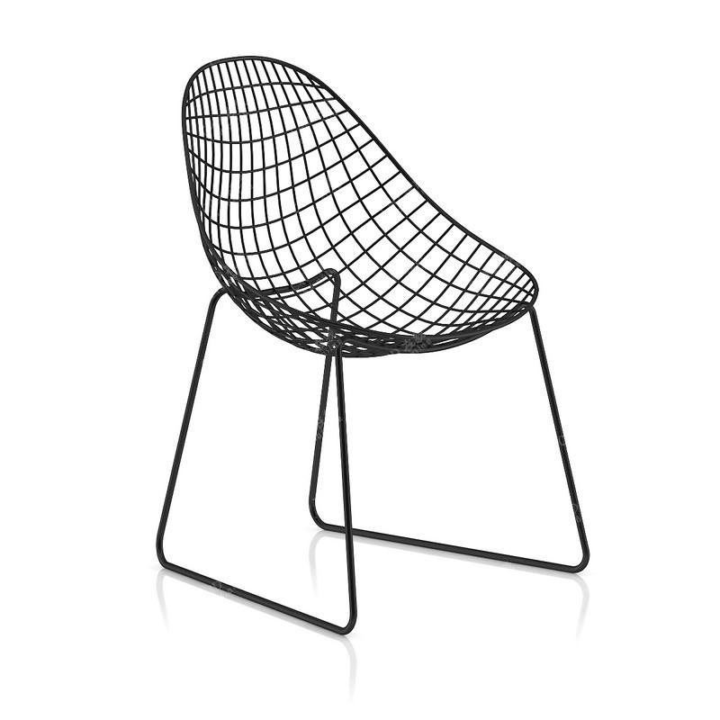 单人铁丝网椅子艺术装饰家具模型