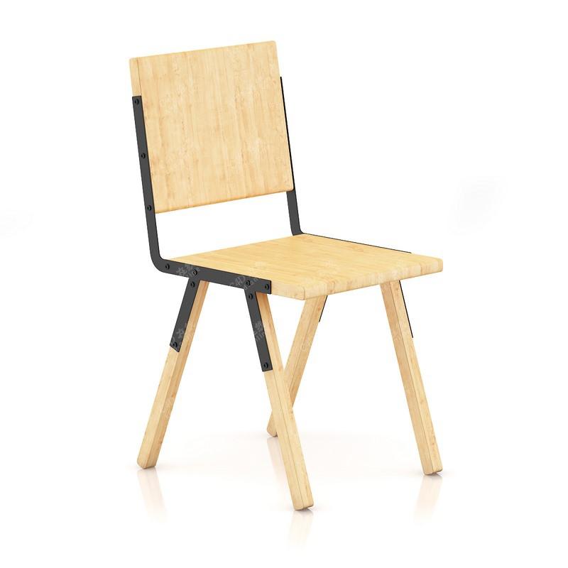 木头板凳靠背椅单人椅子家具模型