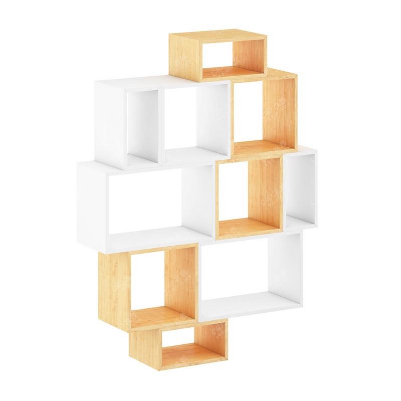 木质书架装饰书柜墙体摆件模型免费下载