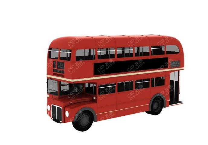 双层红色巴士公交汽车模型