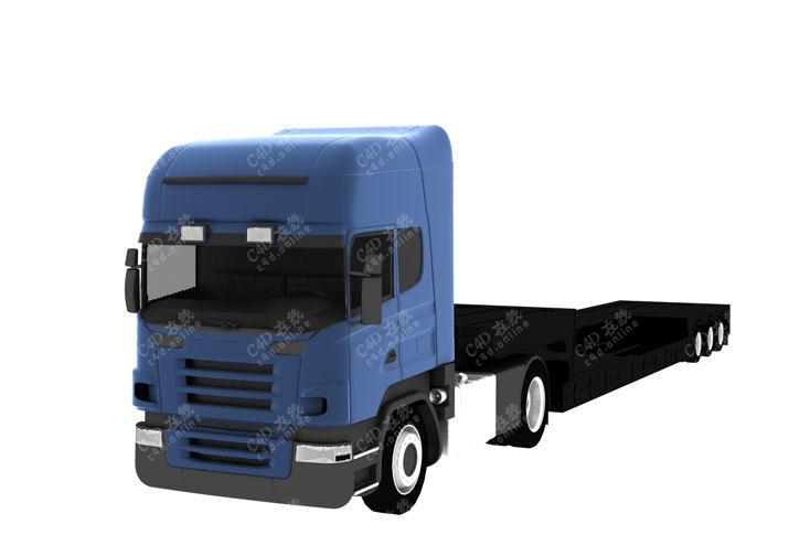 大货车挂车头汽车模型免费下载