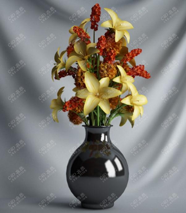 鲜花装饰红花摆件盆栽模型