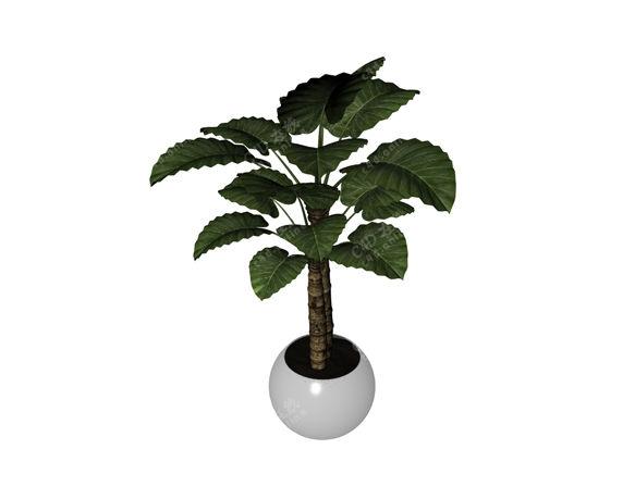 绿叶盆栽绿植模型