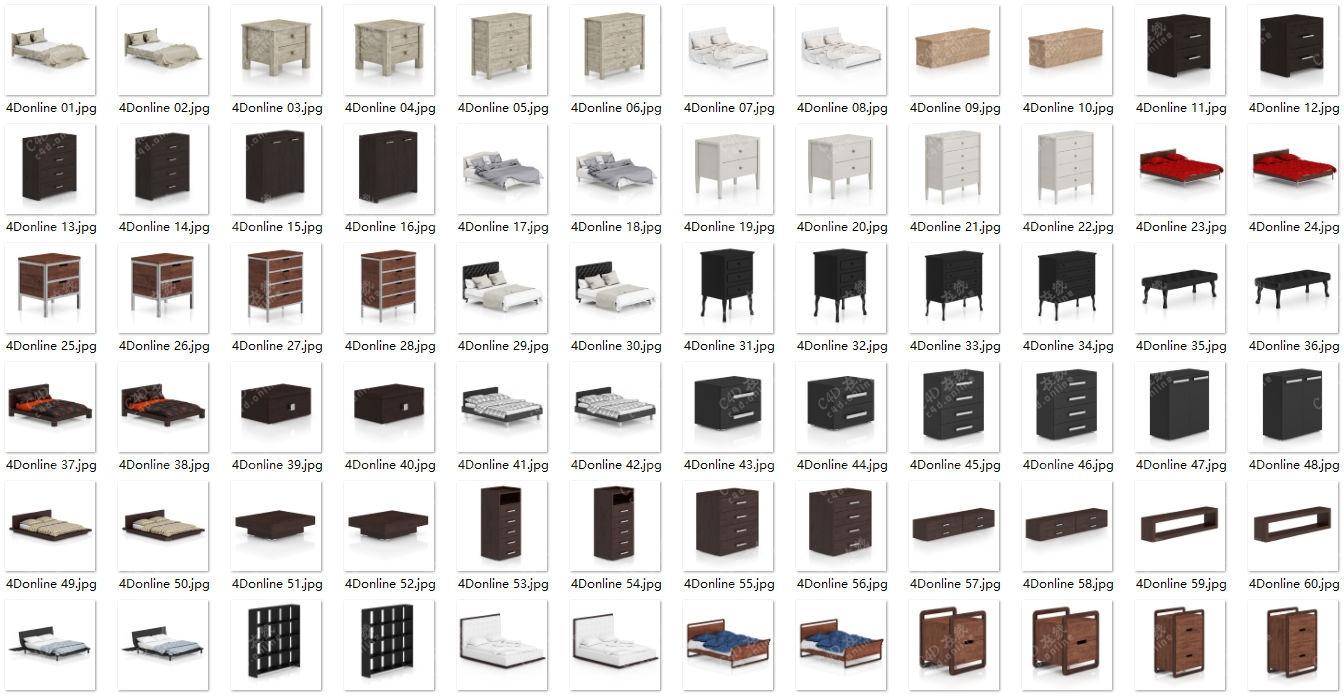 80款床柜子桌椅家居模型合集