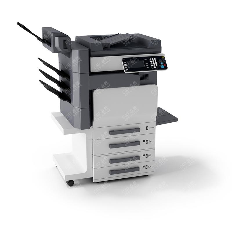 灰色打印机办公复印机设备模型