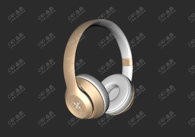 金色头戴式耳机模型