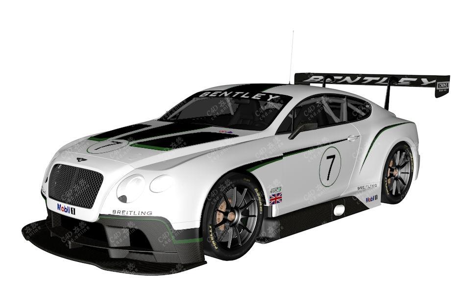 宾利欧陆GT3赛车跑车模型