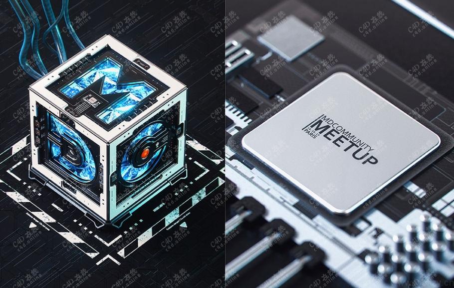 科幻创意CPU芯片处理器工程模型