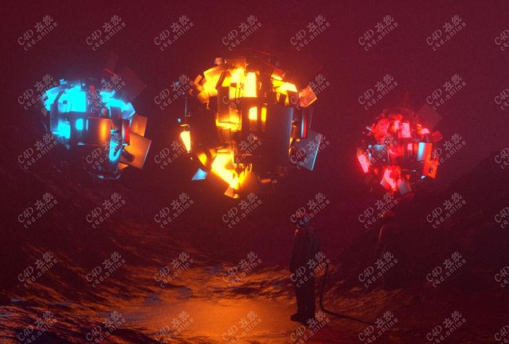 创意科幻宇航员发光飞行器场景